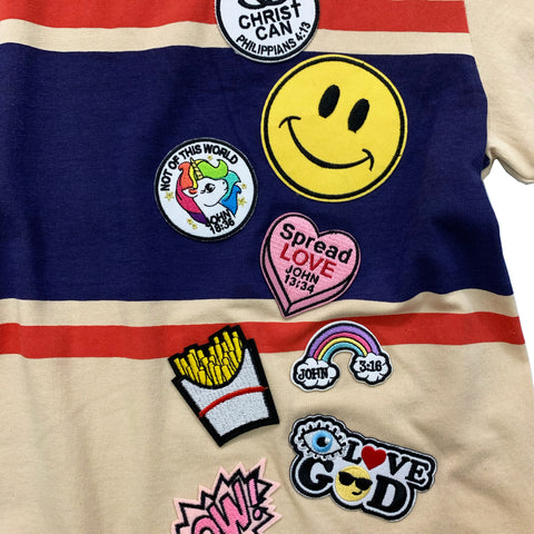 Retro Stripe Tee with Christian patches