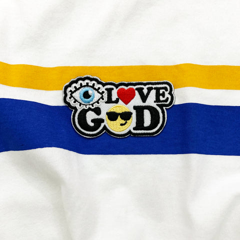 Stripe Top with I Love God Patch