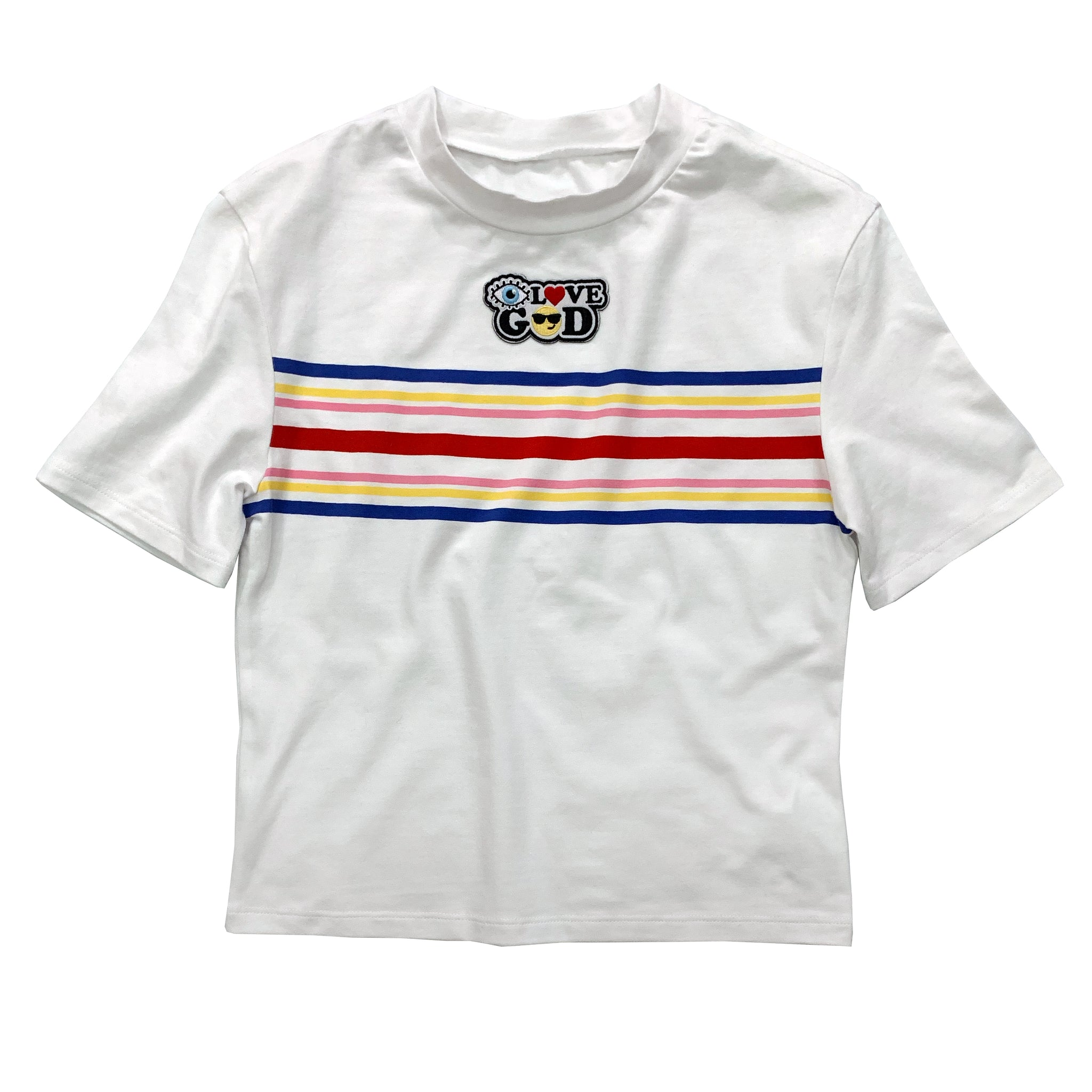 White I love God stripe Tee