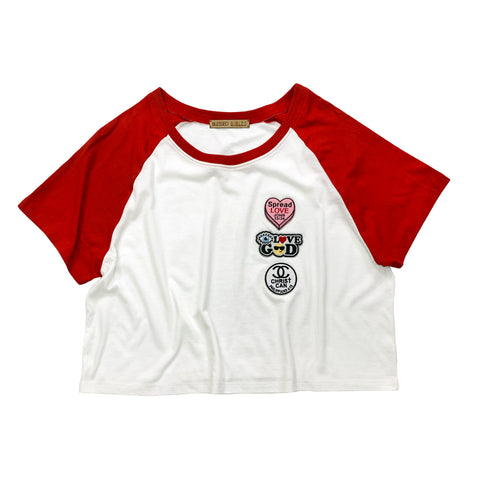 Red & White Raglan top with Christian patches