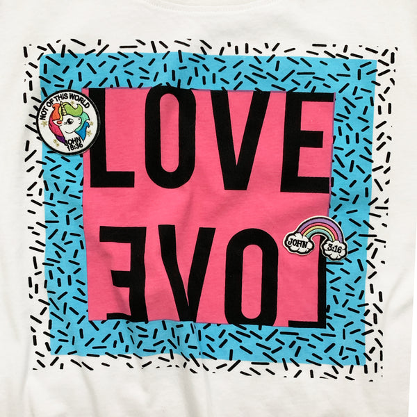 80's Love Tee with Christian Patches