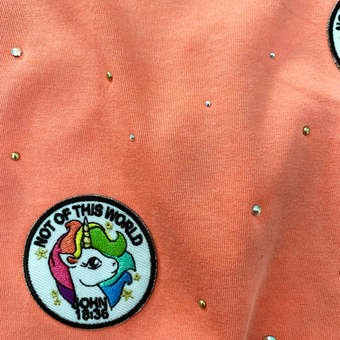 Dusty Neon Christian Unicorn Patch Graphic Tee