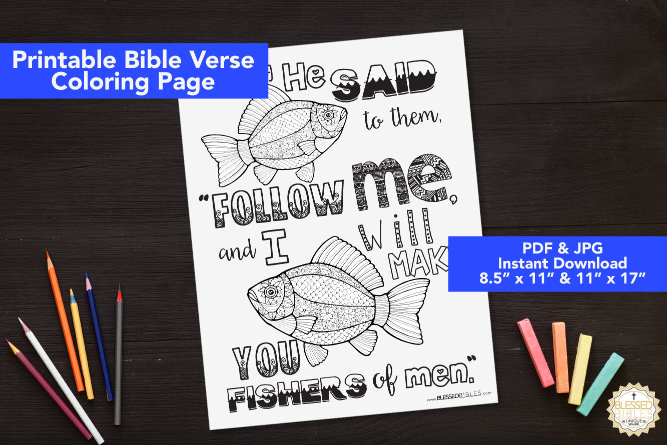 Inspirational Bible Verse Coloring Book Page Matthew 4:19
