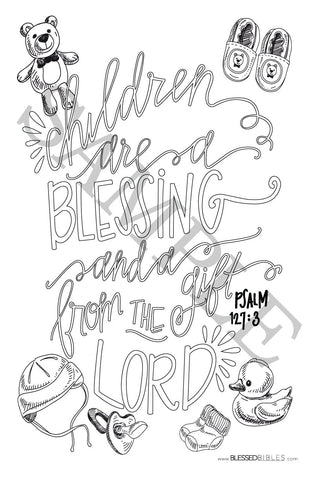 Inspirational Bible Verse Coloring Book Page Psalm 127:3