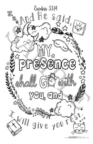 Inspirational Bible Verse Coloring Book Page Exodus 33:14