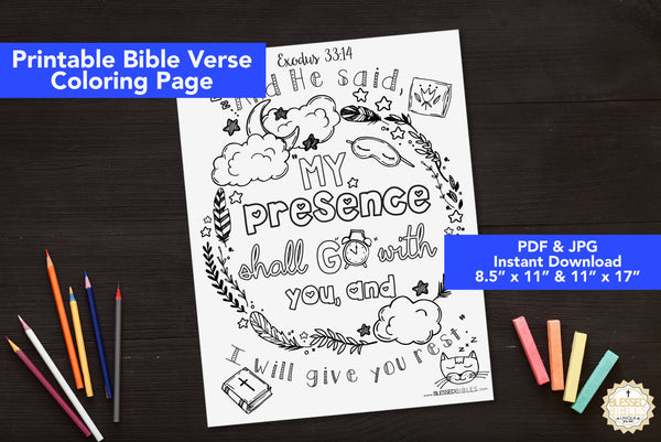 Inspirational Bible Verse Coloring Book Page Exodus 3314