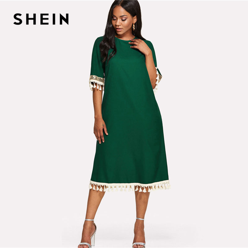 9685ddb7d19b SHEIN Sequin And Tassel Detail Belted Dress 2018 Summer Round Neck Half  Sleeve Knee Length Dress ...