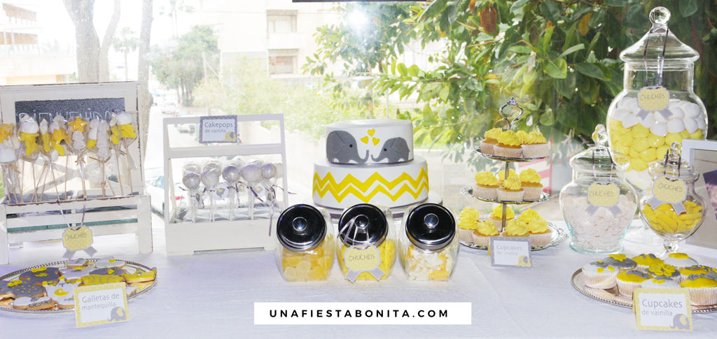 Kit imprimible baby shower elefante amarillo