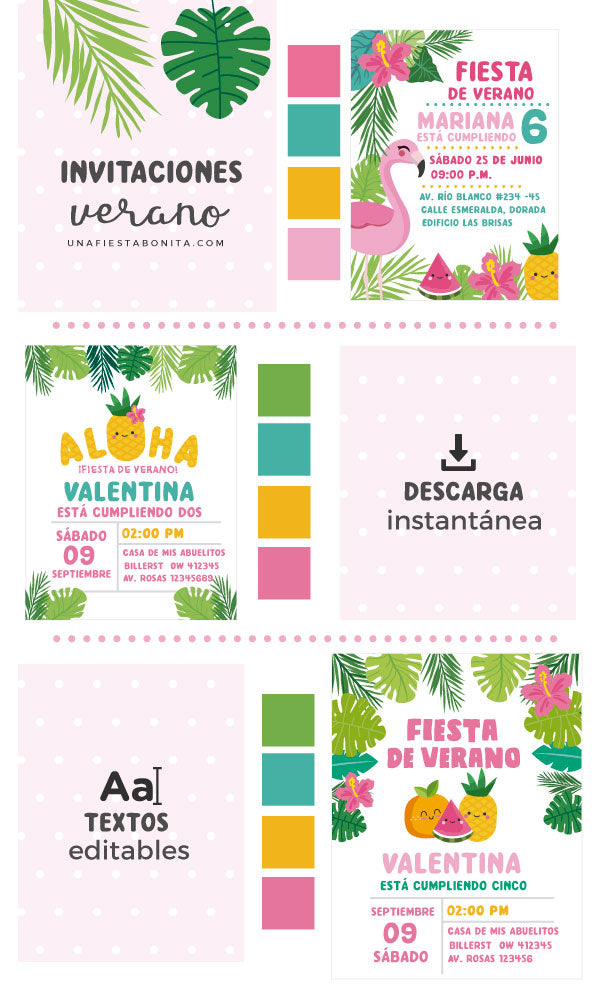 Invitaciones Temática Verano Tropical Ideal Para Fiestas De