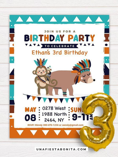 Tribal Printable Invitation Bear Turquoise