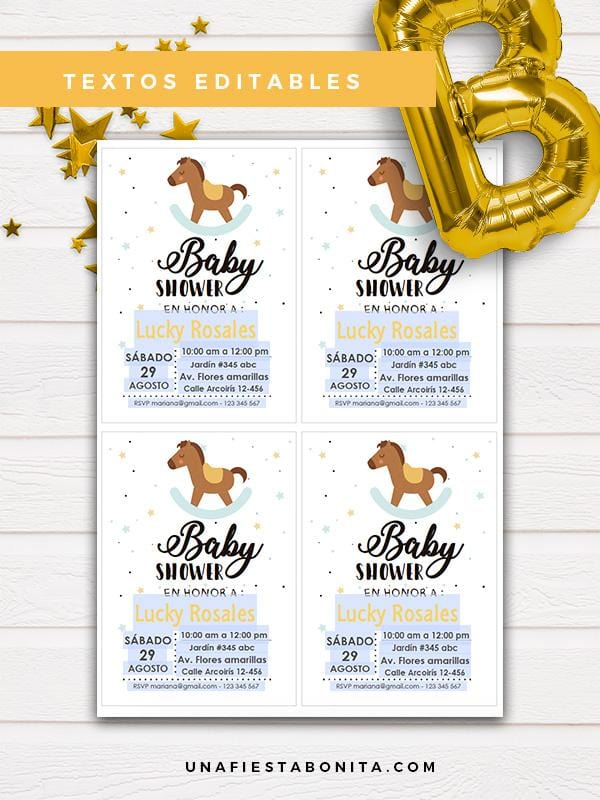 invitacion digital baby shower caballito