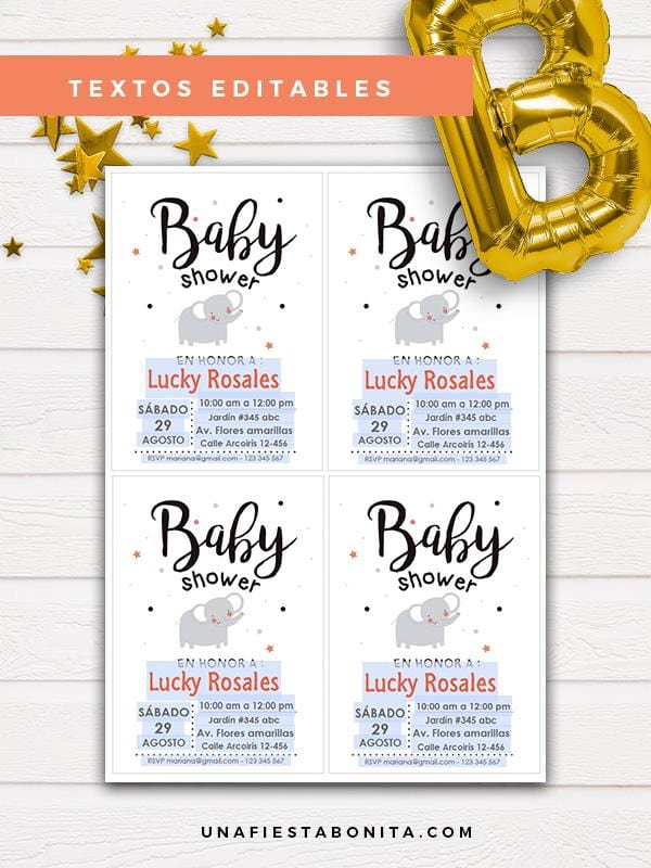 invitacion textos editables elefante baby shower