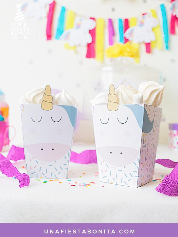 Cajitas unicornio baby shower