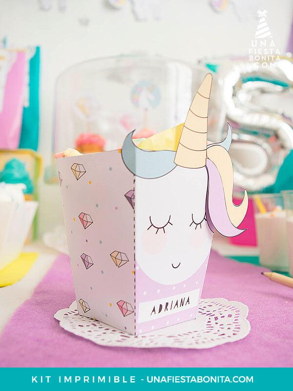 Kit imprimible unicornios y diamantes - Cumpleaños, baby shower ...