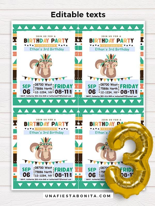 Tribal Printable Invitation Green Squirrel