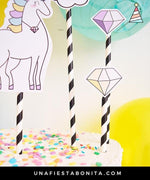 Topper imprimible unicornio y diamantes