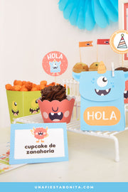 Kit imprimible para fiestas tema monstruos