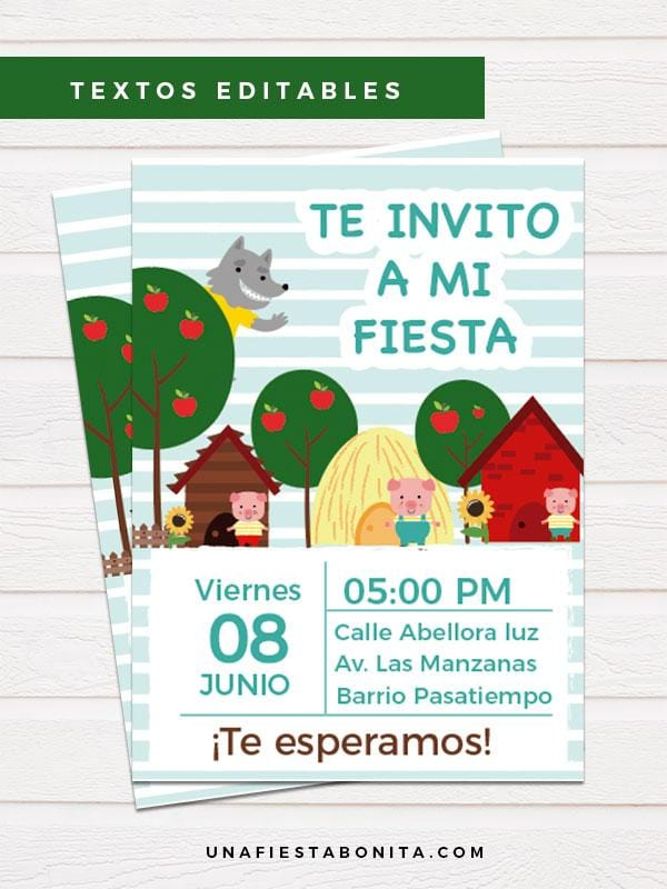 lobo y los tres chanchitos invitacion