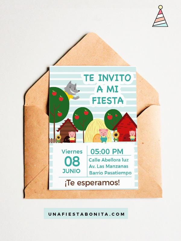 los tres chanchitos invitación fiesta