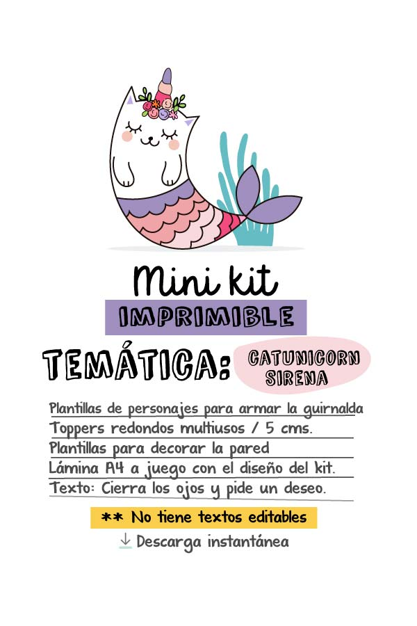 Mini kit de fiesta #catunicorn sirena