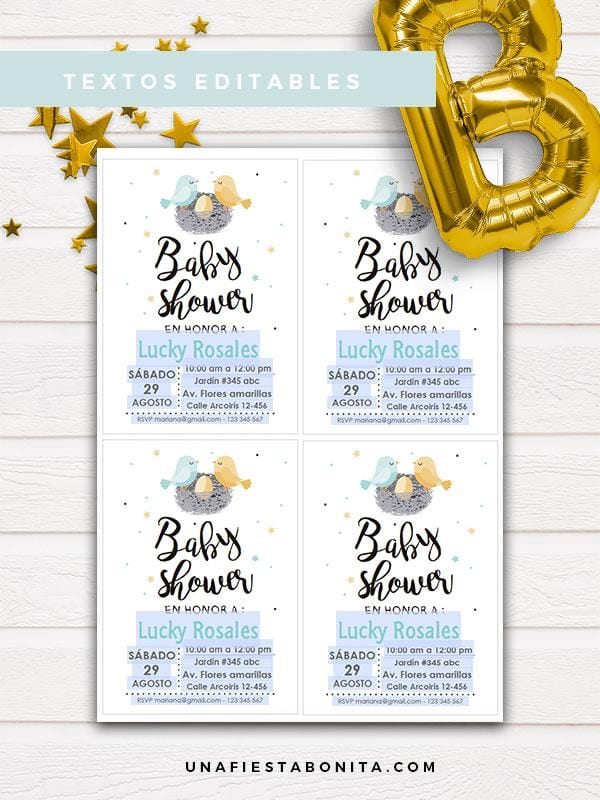 baby shower invitaciones para imprimir pajaritos