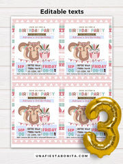 tribal invitation pink girl baby