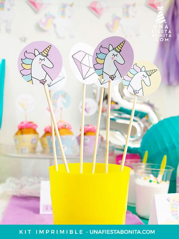 toppers para decoración unicornios