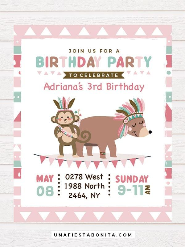 invitation girl pink tribal bear and monkey