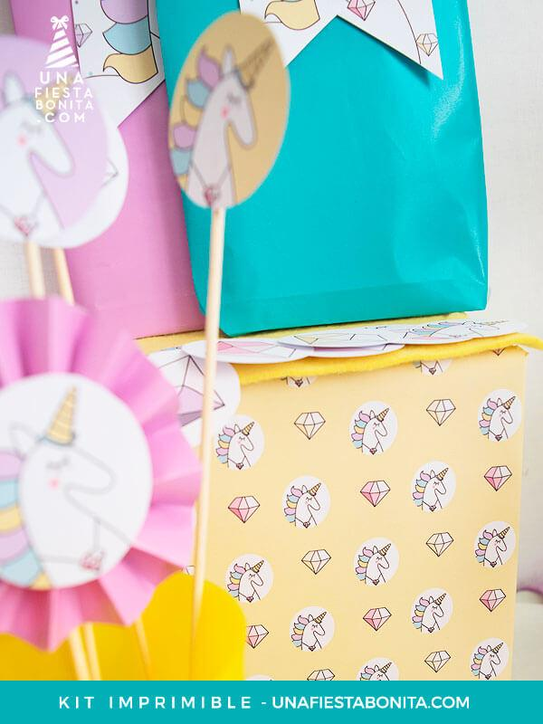 papel decoración unicornios imprimible