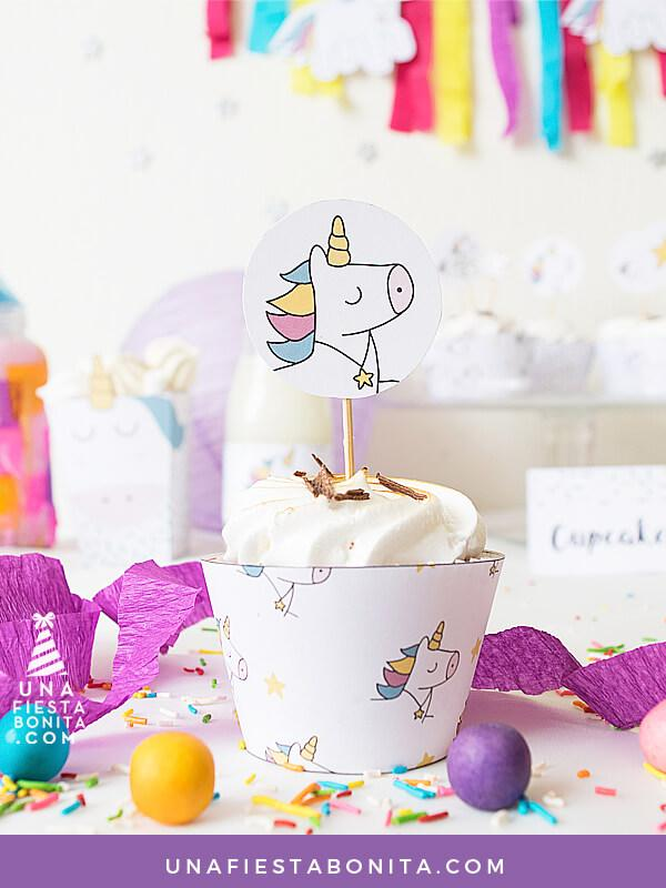wrapper cupcake unicornio imprimible
