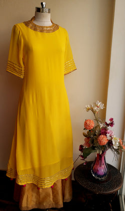 Yellow Marodi work Tunic - LabelKanupriya