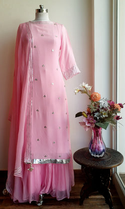 Buy Powder Pink Gota Patti Sharara Set Online at LabelKanupriya.