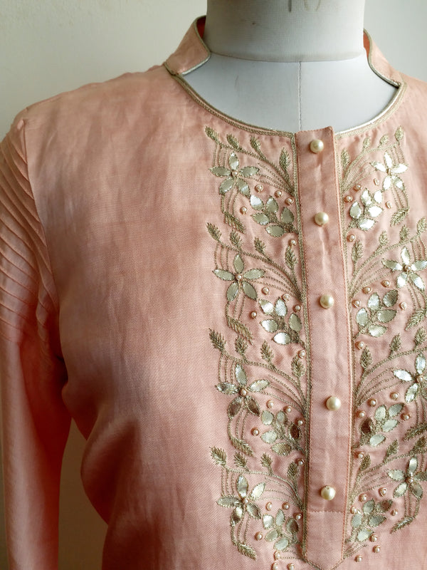 Buy Light Pink Gota Patti Kurta Online at LabelKanupriya.