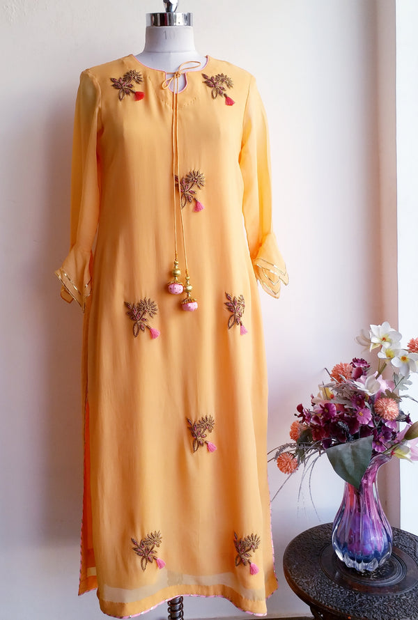 Light Yellow Zardozi Tunic - LabelKanupriya
