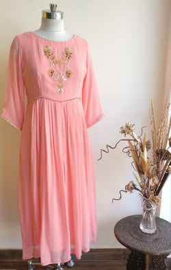 Buy Light Pink Marodi Boota Tunic Online at LabelKanupriya.