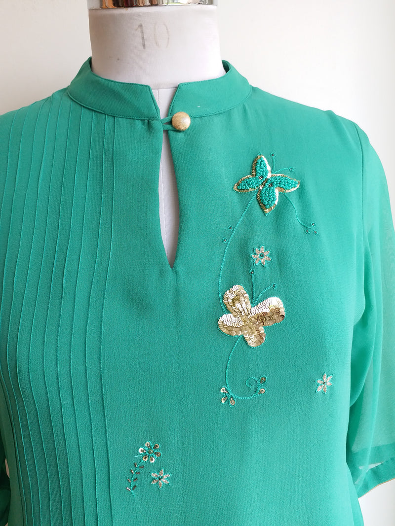 Buy Moss Green Embroidered Top Online at LabelKanupriya.