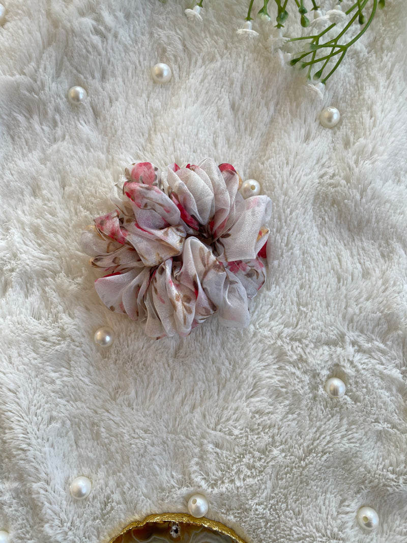 Organza Scrunchie and Scarf Scrunchie Combo (White)