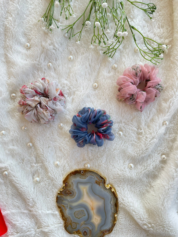 Organza Scrunchies Combo (White-Pink-Blue)