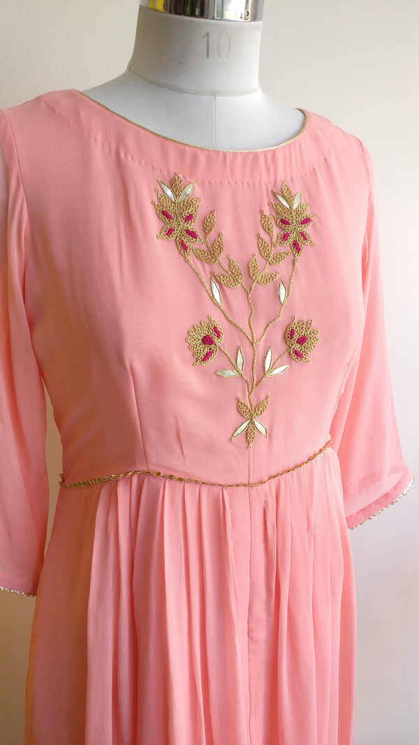 Light Pink Marodi Boota Tunic - LabelKanupriya