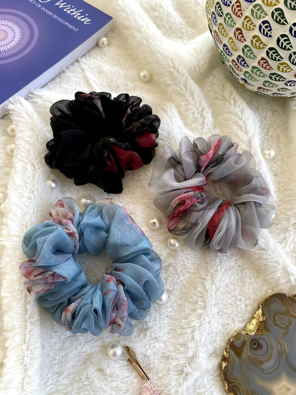 Organza Scrunchies Combo (Black-Grey-Blue)