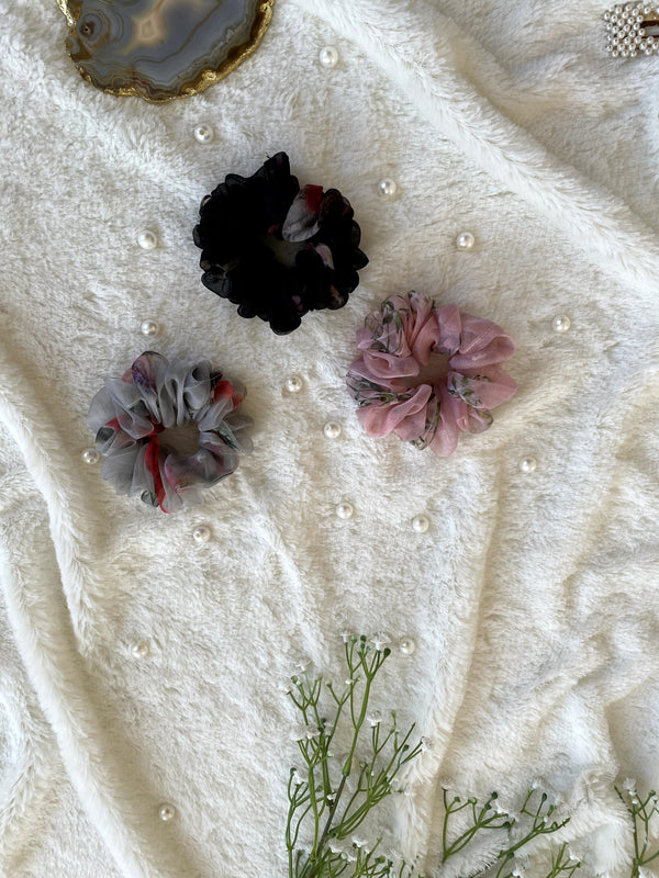 Organza Scrunchies Combo (Black-Grey-Pink)