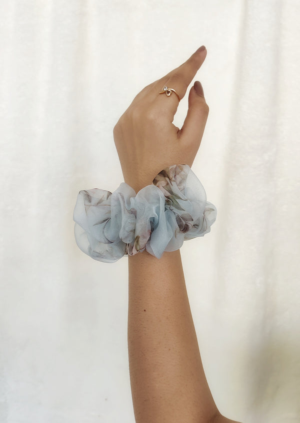 Sky Blue Giant Organza Scrunchie