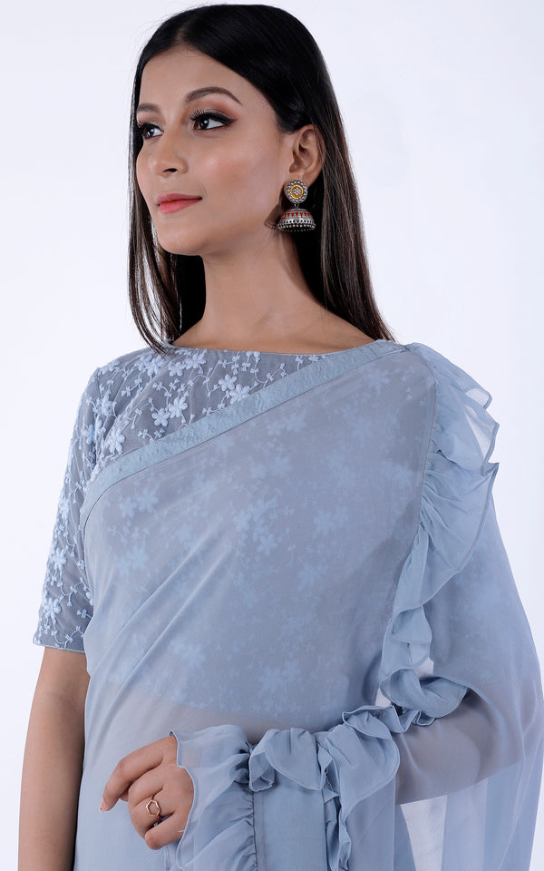 Ice Blue Ruffle Saree with Net Blouse