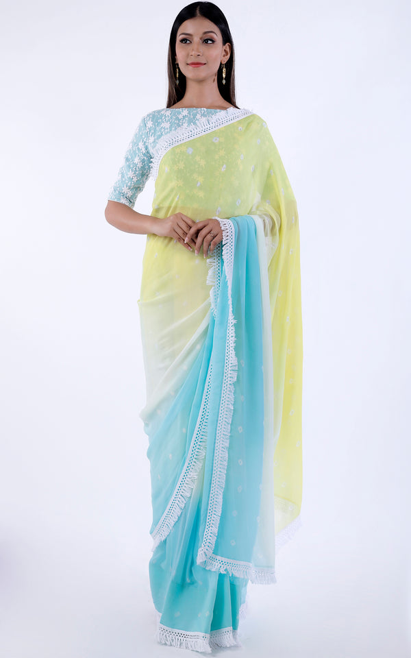 Buy Pastel Bandhej Saree Online at LabelKanupriya.