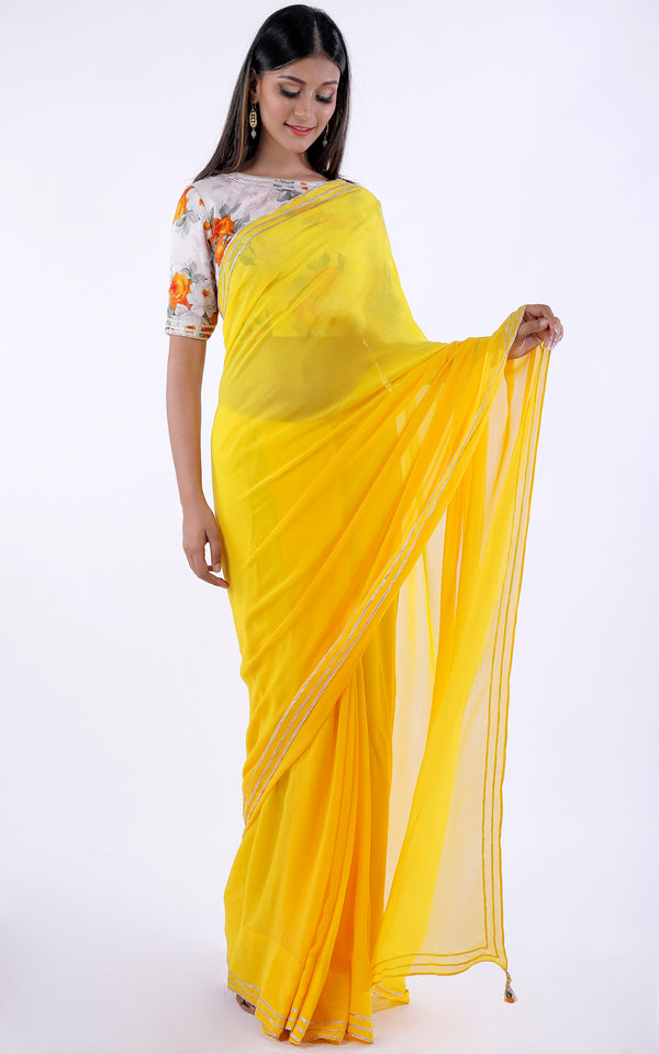 Buy Yellow Gota Border Saree with Printed Satin Blouse Online at LabelKanupriya.