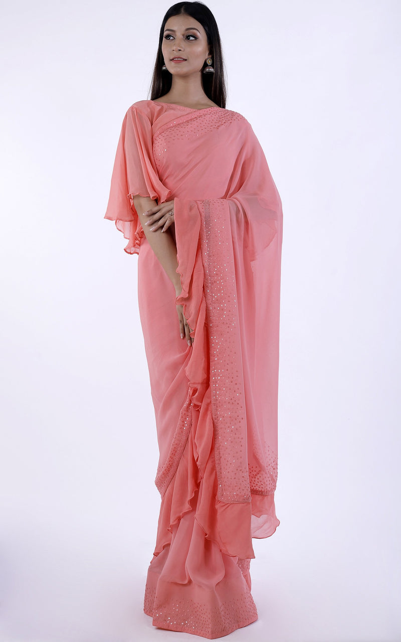 Buy Peach Sequinned Ruffle Saree Online at LabelKanupriya.