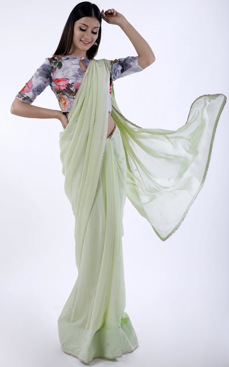 Buy Pastel Green Mukaish Saree with Floral Blouse Online at LabelKanupriya.