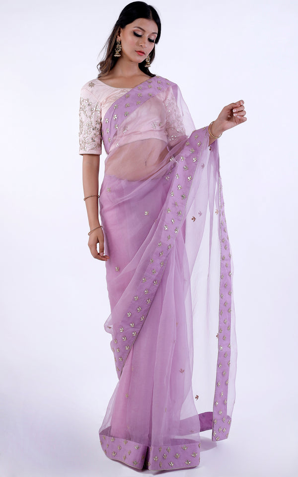 Buy Lilac Organza Gota Patti Saree Online at LabelKanupriya.