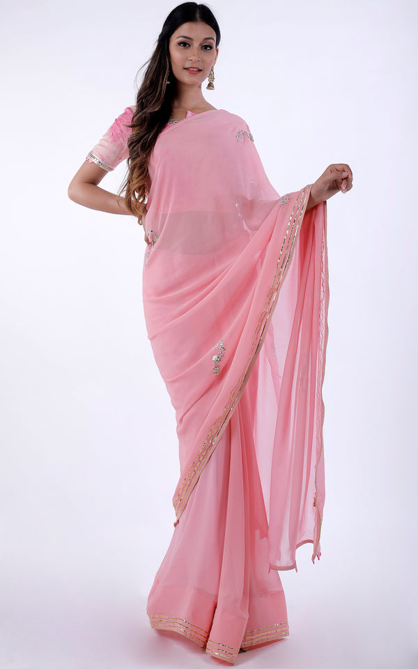 Buy Light Pink Gota Patti Saree with Shibori Blouse Online at LabelKanupriya.