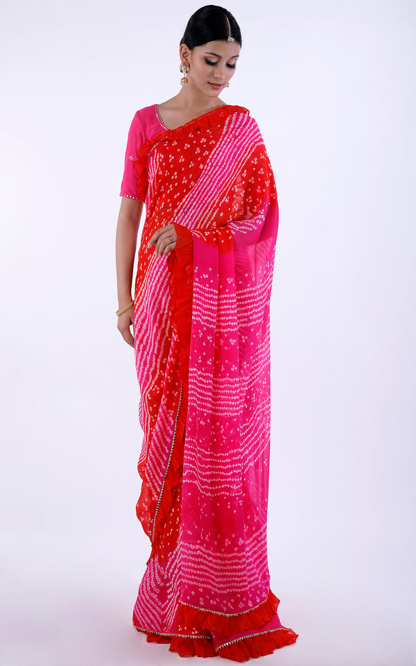 Bandhej Ruffle Saree with Mirrorwork Blouse